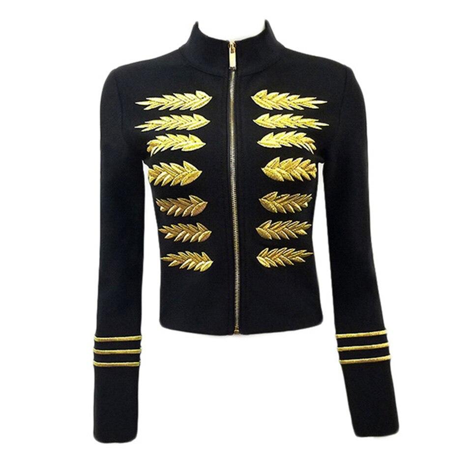 Vintage basic jacket coat Autumn 2019 New street long sleeveless bandage jacket Women embroidery baseball jackets Outerwear Coat