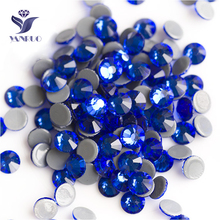 YANRUO 2058HF SS20 Sapphire 1440Pcs Hot Fix Crystal Flat Back Hotfix Strass DIY Glass Rhinestones For Clothing цена