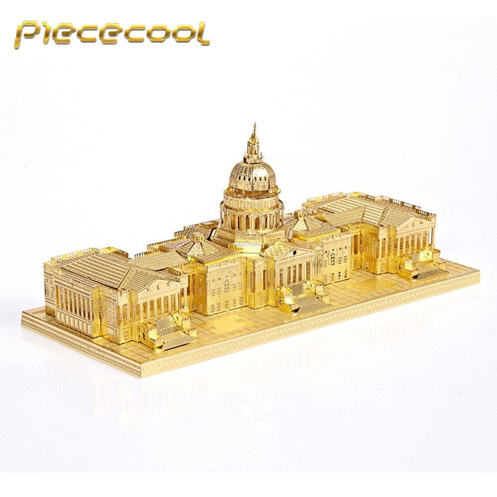 Original Piececool 3D Assembling Metal Puzzle US Capitol USC Building Kits P015 G DIY Laser Cut