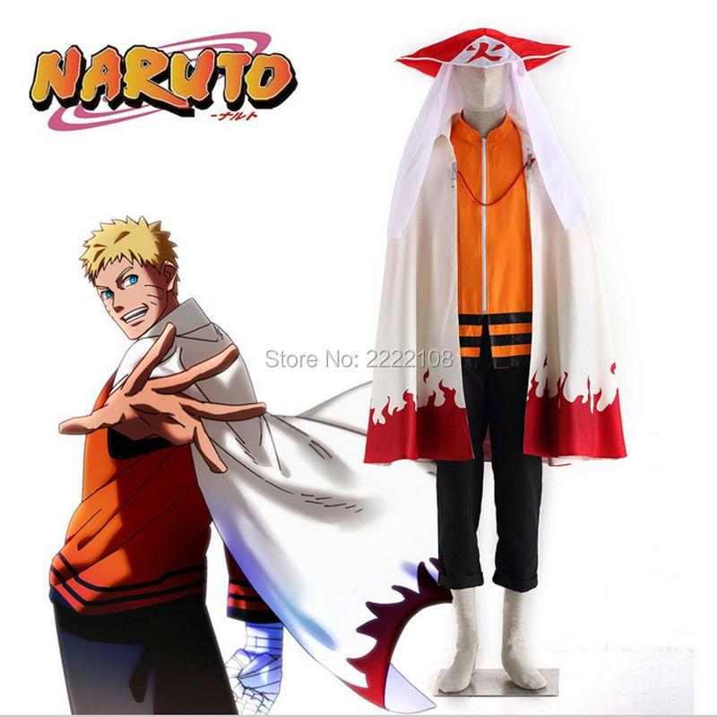 Hot anime naruto de laatste zevende hokage uzumaki naruto cosplay Kostuums met mantel en hokage's hoed (Cloak+jacket+pants+hat)