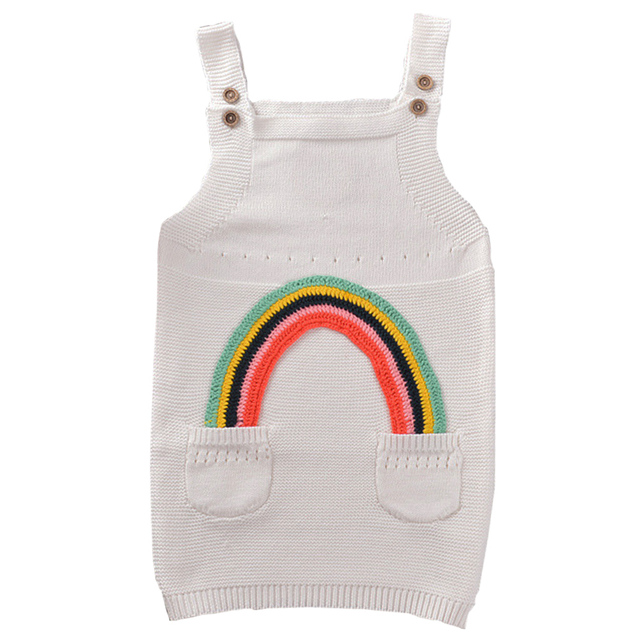 QUIKGROW 3-4 Years Causal Rainbow Design Younger Kids Sweater Dress Toddler Girl Suspender Knitted Clothes FE06MY
