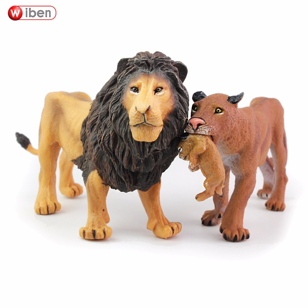 Wiben Simulation Toy Figures Animal-Model Christmas-Gift Lions 2pcs/Lot Brinquedos Learning