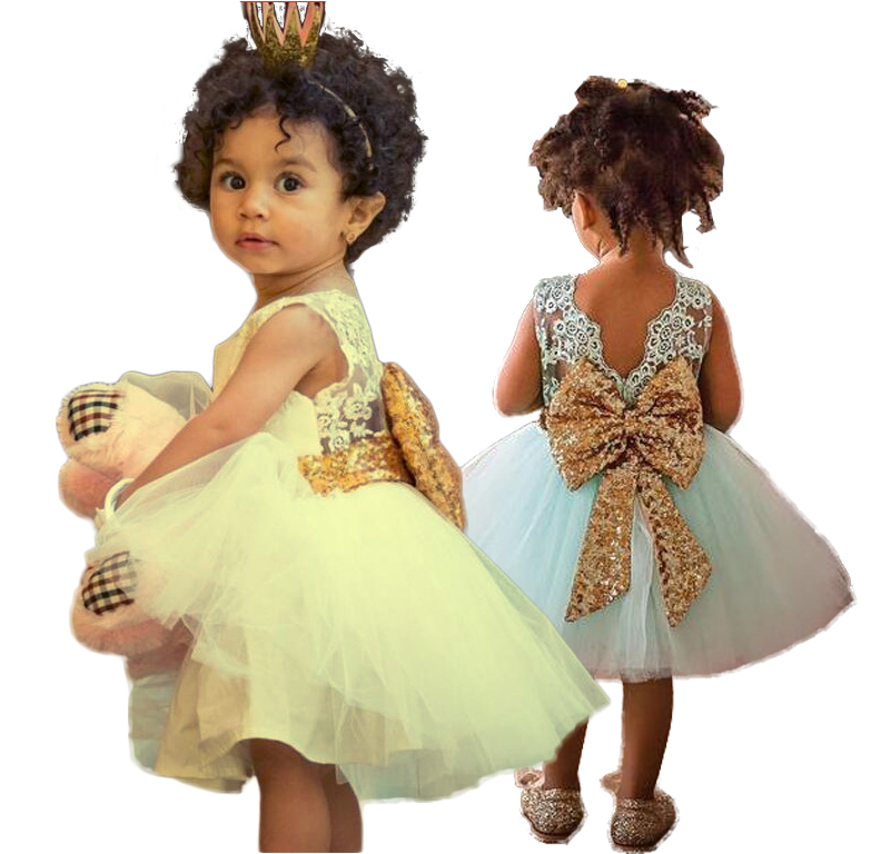 Baby girl dress Big Bow Sequined Lace Dress White Birthday Party Dress Wedding gown vest ...