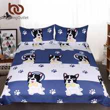 BeddingOutlet Bulldog Bedding Set Kids Cartoon Bed Set King Bow Tie Dog Blue and White Duvet Cover Animal Pug Printed Bedclothes(China)