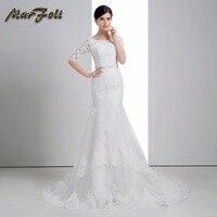 Marfoli Simple instock High end round collar muslim Wedding Dresses Mermaid gown With elegant Lace half long sleeve BS0030