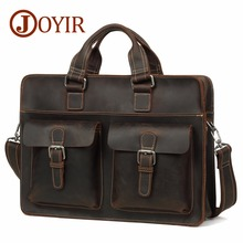 JOYIR Vintage Crazy Horse Genuine Leather Men Briefcases Business Bag 15.6 Laptop Messenger Shoulder Bag Business Handbag New anaph vintage crazy horse men s leather durable briefcases 15 laptop bag brown cowhide business tote bags 30 year warranty