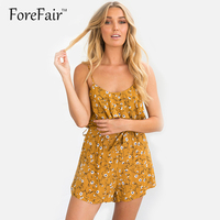 Trendy Boho Floral Print Spaghetti Strap Jumpsuit Romper Womens Backless Playsuits Lace Up Waist Bodysuit