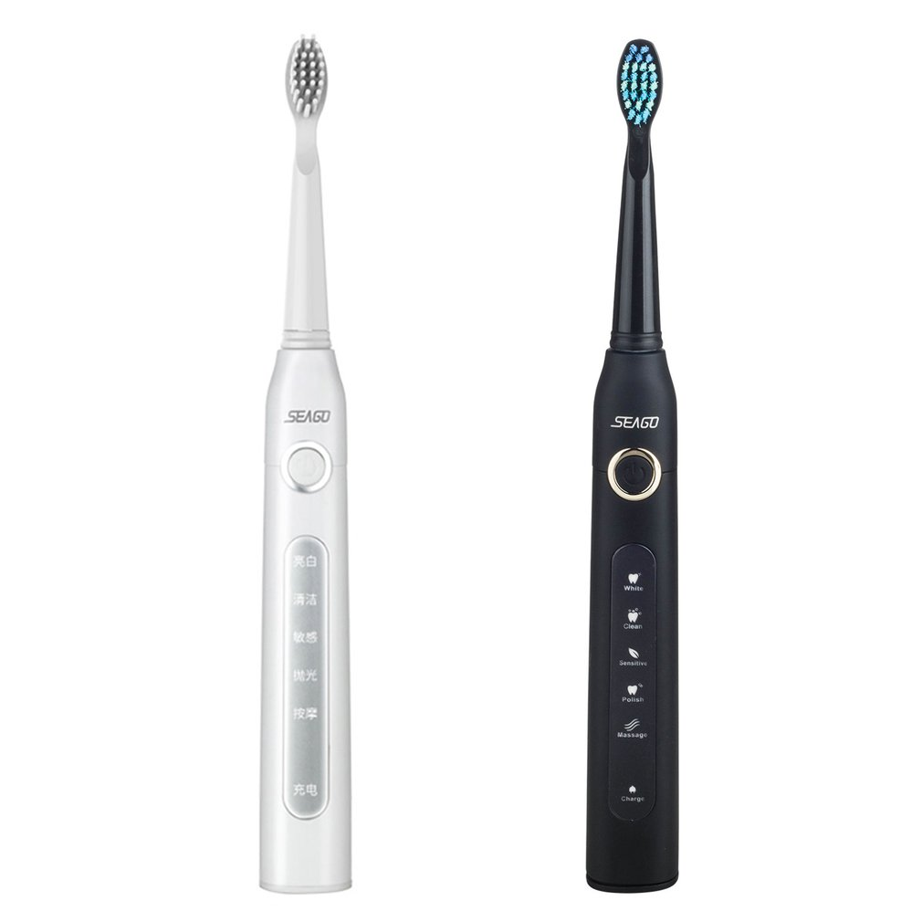 Seago SG-507 USB Rechargeable Electric Toothbrush Adult Waterproof Deep Clean Teeth Brush With 2 Replacement Heads