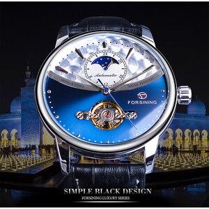 Image 2 - Forsining relojes mecánicos automáticos clásicos para hombre, Tourbillon, de cuero genuino, de fase lunar azul, Masculino