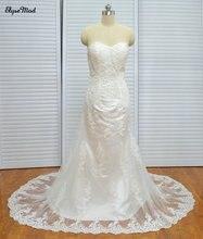 Kedatangan baru De Bodas Baratos Foto Nyata Sayang Tulle Lace Sapu Kereta Beaded Wedding Gown Bridal Dresses 2018