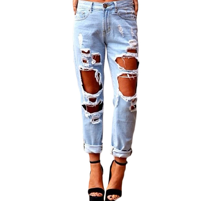 ripped jeans with holes woman workout trousers ladies. Black Bedroom Furniture Sets. Home Design Ideas