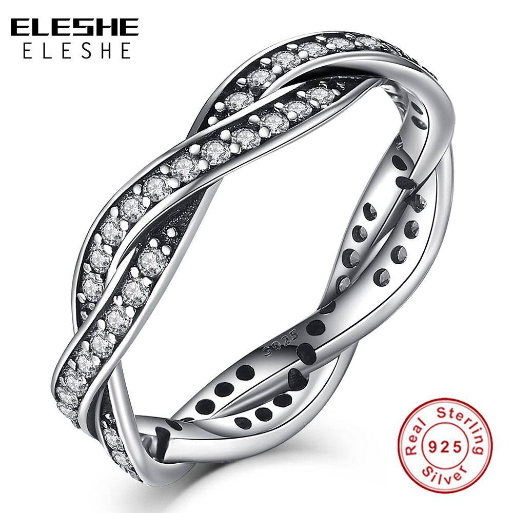 Pembelian terbaik ) }}ELESHE Classic anillos mujer bague aros 925 Sterling Silver Rings Austrian Rhinestones CZ Twist
