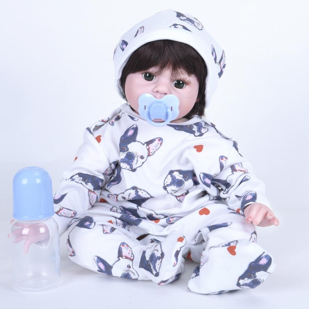 55cm Cute Soft Silicone Reborn Baby Doll Realistic Newborn Girl Doll with Cloth Body Toy for Birthday New Year Xmas Gifts цены
