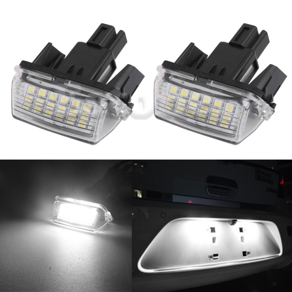 2Pcs 18-SMD LED Xenon License Plate Light Car-styling For Toyota CAMRY 2012-2015 New 18 smd led license plate light bulb for toyota camry xv40 yaris xp10 echo prius nhw11 previa ipsum avensis verso