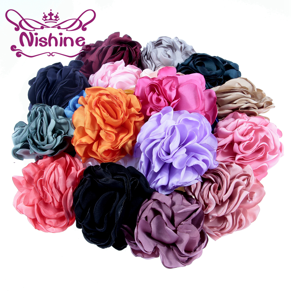 Nishine 100pcs 3.2 Artificial Flatback Rolled Burn Flowers Kids Handmade Rosette for Headband Hairpins Gilrs Hair Accessories