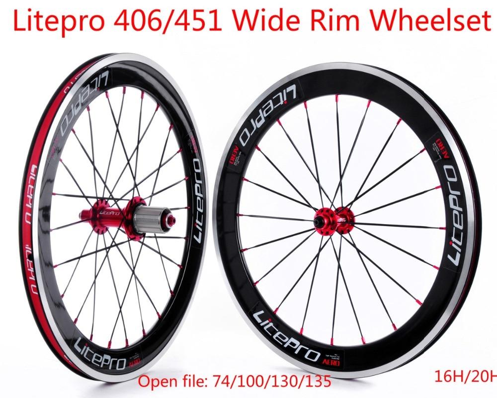 Litepro S42 BMX Wide Rims Wheelset 20inch 451 Wheelset Folding Bike Bicycle font b Wheels b