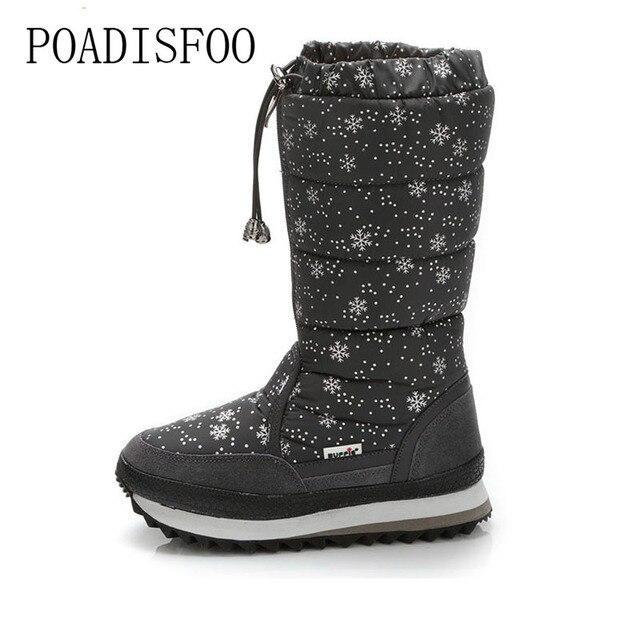 POADISFOO 35-43 รองเท้าผู้หญิง Plush หิมะอุ่นรองเท้าผ้าฝ้ายฤดูหนาวรองเท้ากันน้ำ Snow Botas ซิปลง boot. XZ-05