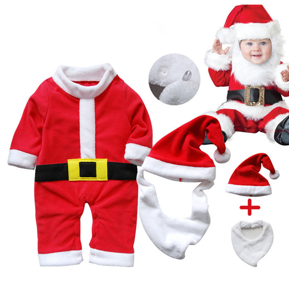 Baby Boys Girls Santa Claus Long Sleeve Rompers And Hat Cute Baby Christmas Rompers Newborn Child Baby Winter Outfits Set 2017 baby boys girls long sleeve winter rompers thicken warm baby winter clothes roupa infantil boys girls outfits cc456 cgr1