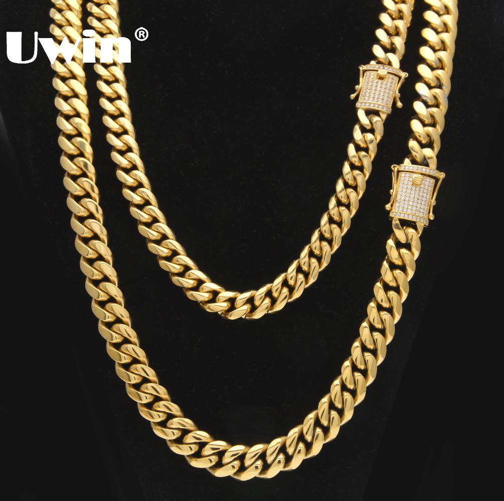 Uwin Stainless Steel Cuban Link Chain With Bling CZ Zirconia Triple Lock Luxury Top Quality Necklace 12&14mm Hiphop Men JewelryUwin Stainless Steel Cuban Link Chain With Bling CZ Zirconia Triple Lock Luxury Top Quality Necklace 12&14mm Hiphop Men Jewelry