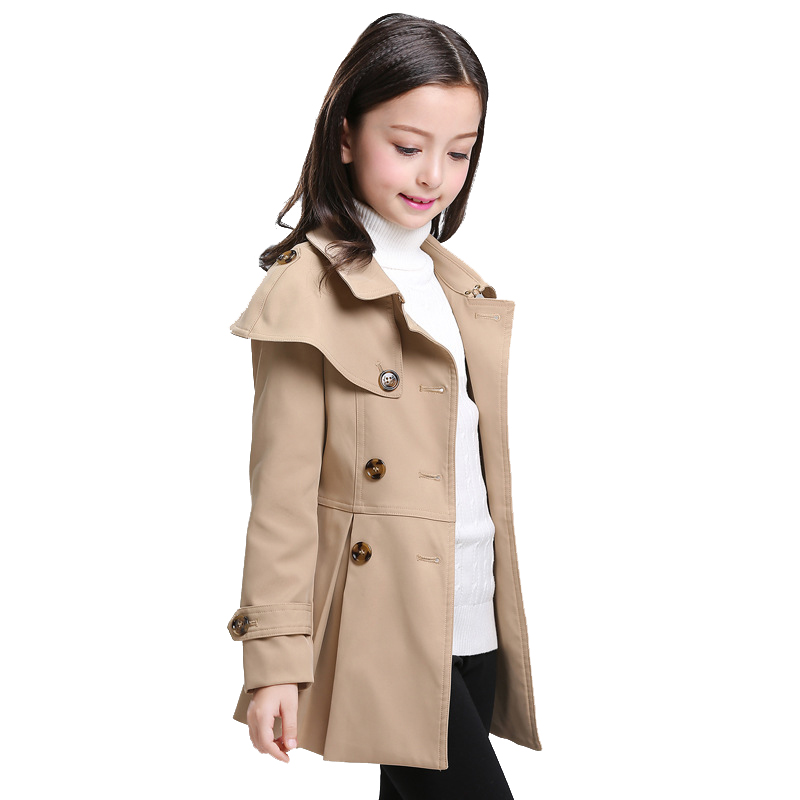 Burdully Autumn Girls Coat Children Cloak Windbreaker Kids Long Double Breasted Classic Princess Clothing High Quality 4y-10y girls windbreaker autumn winter kids cotton coat children khaki double breasted long clothing england style for 4y 12y page 2