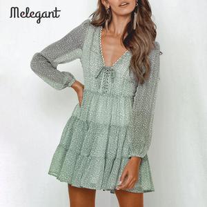 Image 2 - Melegantแขนยาว 2019 ชุดฤดูหนาวฤดูใบไม้ร่วงผู้หญิงสั้นRuffles Femme ElegantสีเขียวสุภาพสตรีชุดชีฟองVestidos