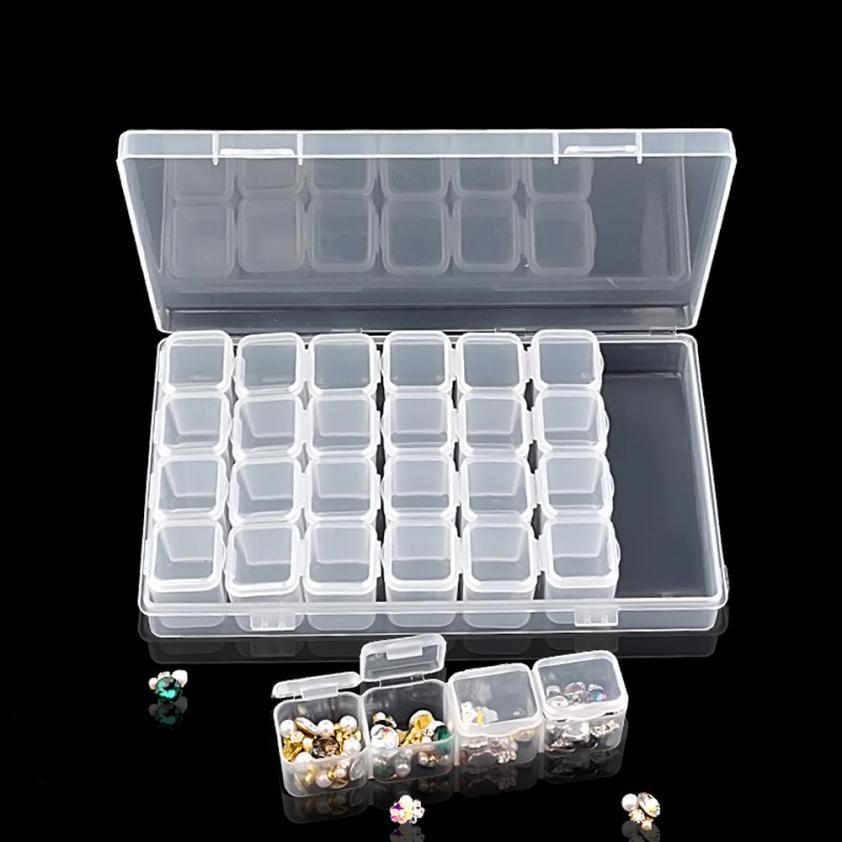 1 Set 28 Lattice Empty Storage Case Box Paillette Strass Nail Opbergdoos Case Plastic Container Nail Art Accessoires 2AU3