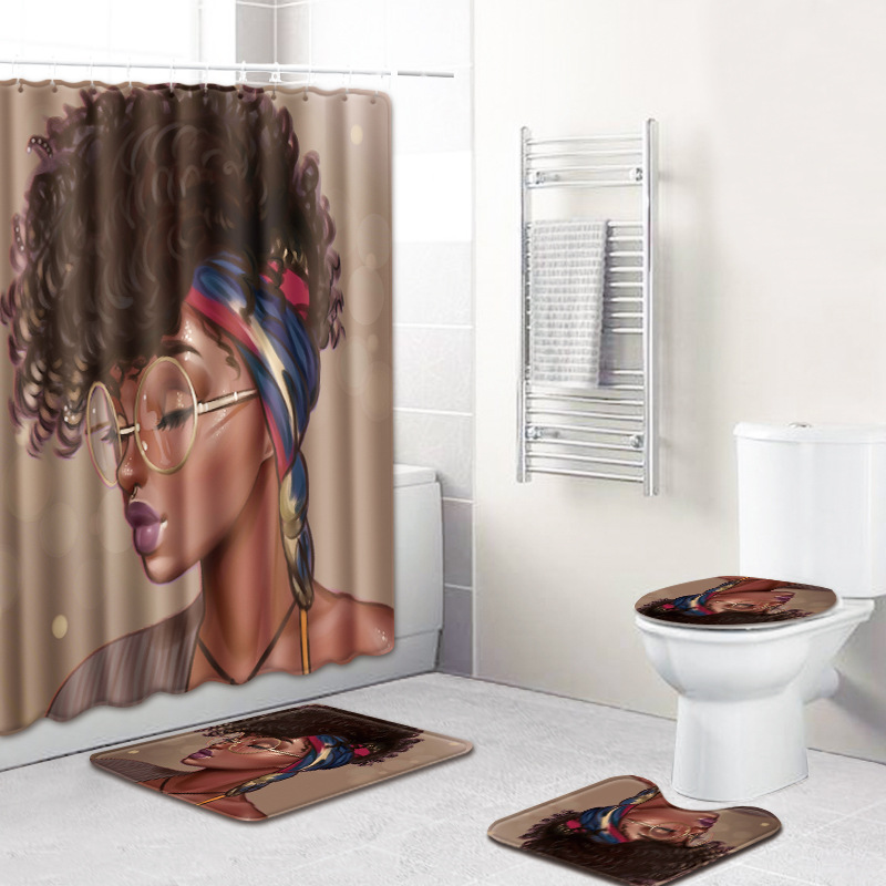 HTB10MqFUyrpK1RjSZFhq6xSdXXaN - American style African sexy curls woman pattern waterproof shower curtain bathroom with hook anti-slip mat toilet mat set