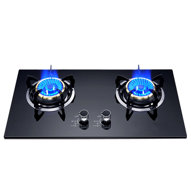 Gas Cooker Double Household Gas Stove Glass Binocular Cooker Embedded Stainless Steel Liquefied Gas Fierce Fire Cooker