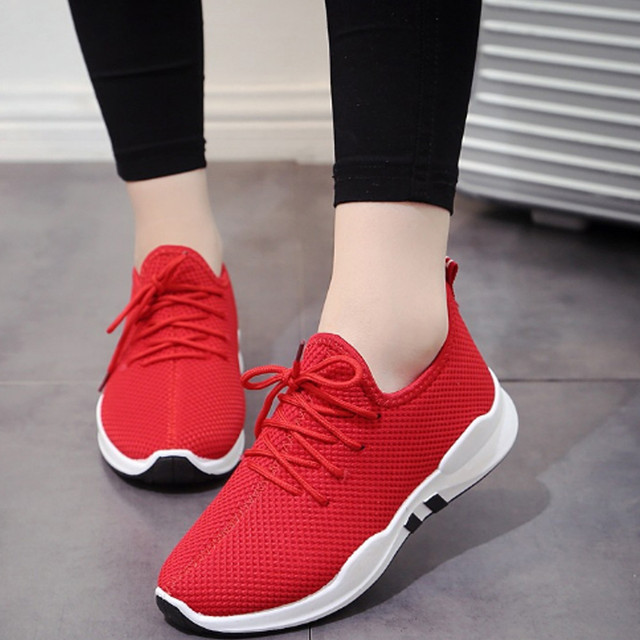 b8942cfa841 Women Running Trainers Lace Up Flat Comfy Fitness Gym Sports Shoes Casual  Shoes New Arrival 2018