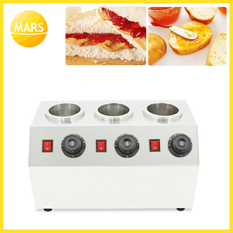 Commercial Electrice Triple Sauce Bottles Warmer Hot Cheese Chocolate 3 Bottles Warming Machine Dispenser Melter