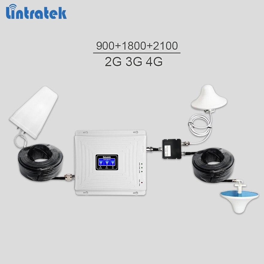 Lintratek мобильный усилитель сигнала 900 1800 2100 gsm репитер 3 г 4 г усилитель сигнала lte umts трехдиапазонный телефон усилитель полный комплект 72