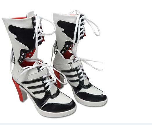 296bd4e51be 2016 Batman Suicide Squad Harley Quinn Boots Movie Cosplay Costumes Shoes  High Heels Custom Made For Adult Women Halloween Party