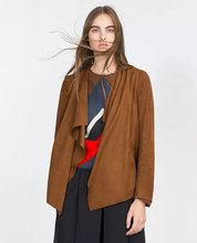 Spring 2017 Femme Long Bomber Jacket V-Neck Long Sleeve Solid Colour Faux Suede Leather Women Open Stitch P8886