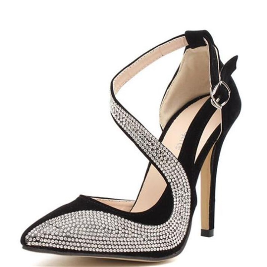 MoBeiNi 2017 New Pointed Toe Rhinestone High Heels Women Pumps Sexy dress wedding bridal shoes sandals pumps woman Zapato Mujer genshuo 2017 women sexy valentine pointed toe stiletto high heels shoes ladies wedding dress bridal designer pumps zapatos mujer