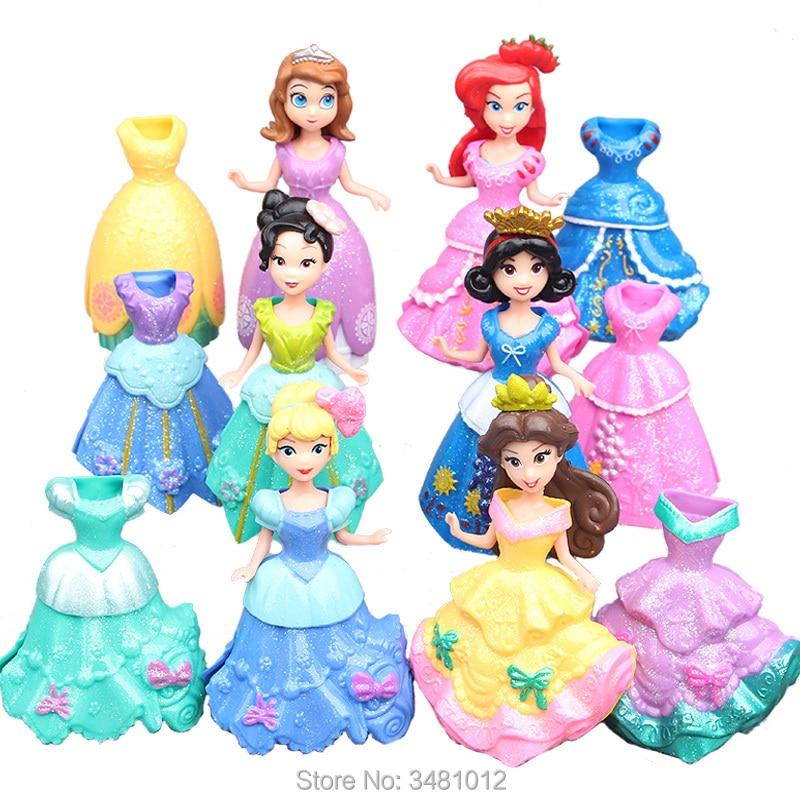 Magiclip Princesses Cinderella Magic Clip Dresses Anime PVC Action Figures Sofia Statue Dolls Figurines Kids Toys for Children