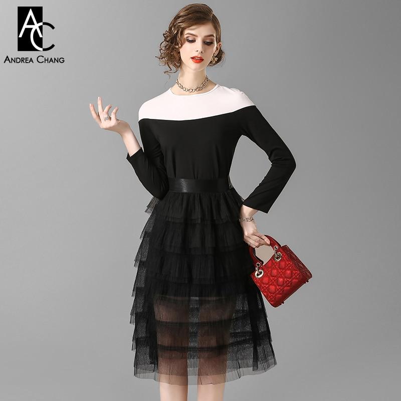 Blouse Suit Skirt Clothing-Set Spring X-Long Shoulder Autumn Woman White Black Patchwork thumbnail