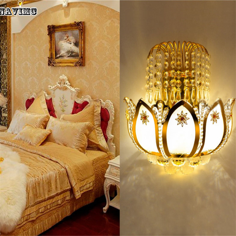 Aliexpress Buy Gold Crystal Led Wall Sconces Lamps For Bedroom Living Room Bedside Bathroom Closet Night Light Modern Luxury From Reliable