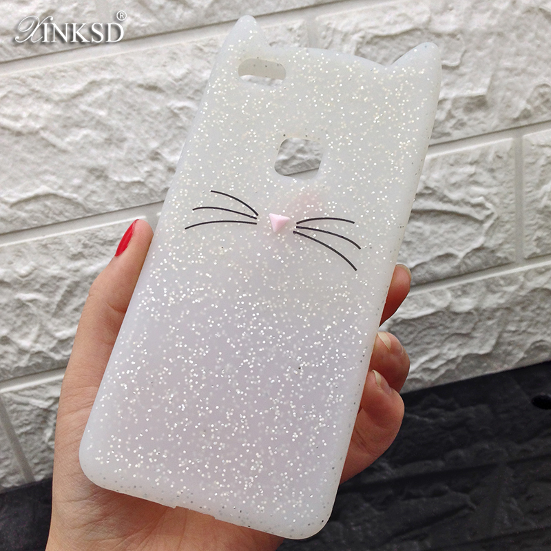 Soft Carbon Black Cat Ears Beard Silicone Case for Huawei P9 lite mini Smile Cover for Huawei Mate 10 PRO 2017 3D Cartoon Cases