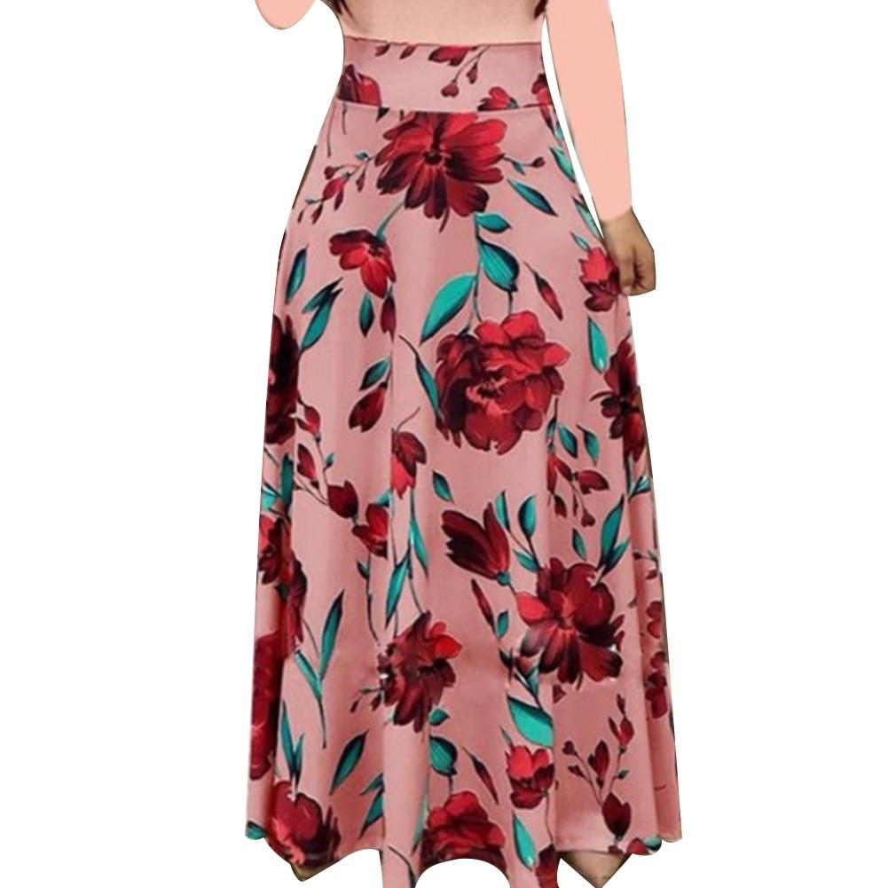 HTB10MrTXVT7gK0jSZFpq6yTkpXaE New Summer Flower Dot Print Color Matching Long Sleeve High Waist Women Maxi Dress