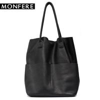 MONFER бренд для женщин пояса из натуральной кожи сумки на плечо повседневные Винтаж мягкой коровьей хозяйственная сумка мешок лайнер