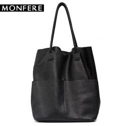 MONFER Brand Women Genuine Leather Shoulder Bags Causal Vintage Soft Cowhide Skin Handbag Shopping Bucket Liner Bag High Quality