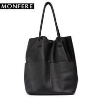 MONFER Brand Women Genuine Leather Shoulder Bags Causal Vintage Soft Cowhide Skin Handbag Shopping Bucket Liner Bag High Quality