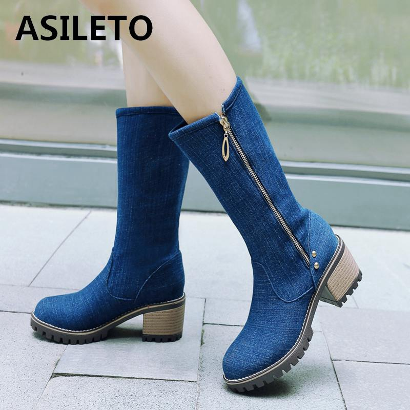 f50000332d59 Detail Feedback Questions about ASILETO Boots Women thick high heels spring  summer shoes mid calf boots zip blue denim booties western cowboy jeans  botas ...