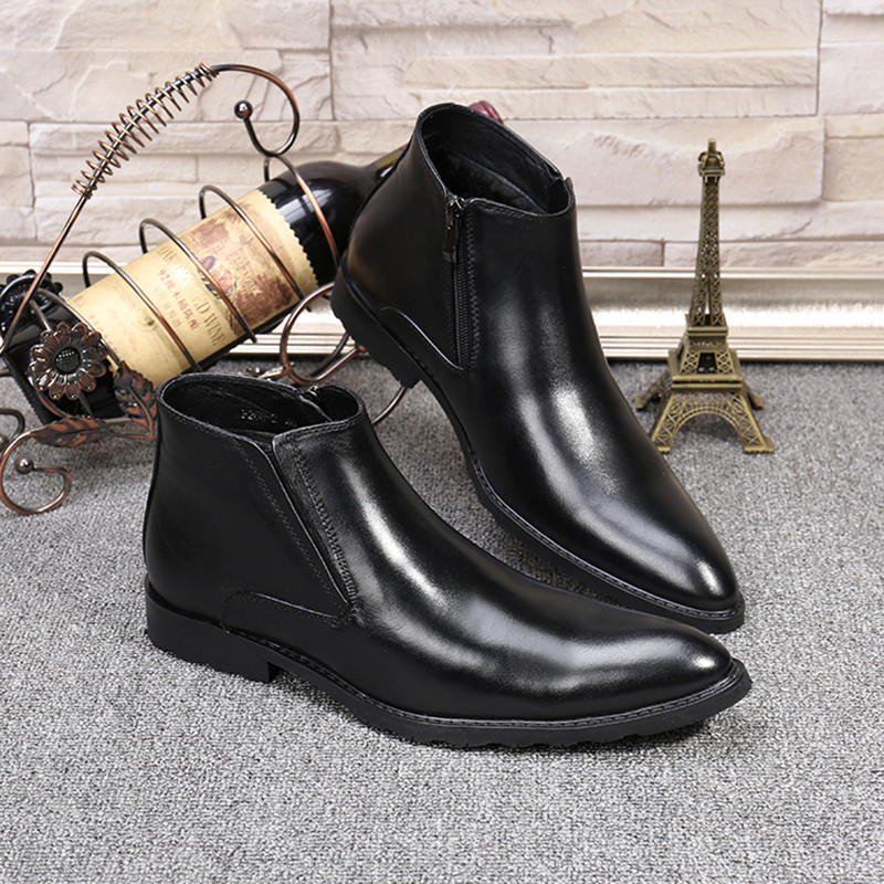 Christia Bella Fashion Men Boots Autumn Winter Warm Genuine Leather Men Ankle Boots Black Business Dress Shoes Men Cowboy Boots