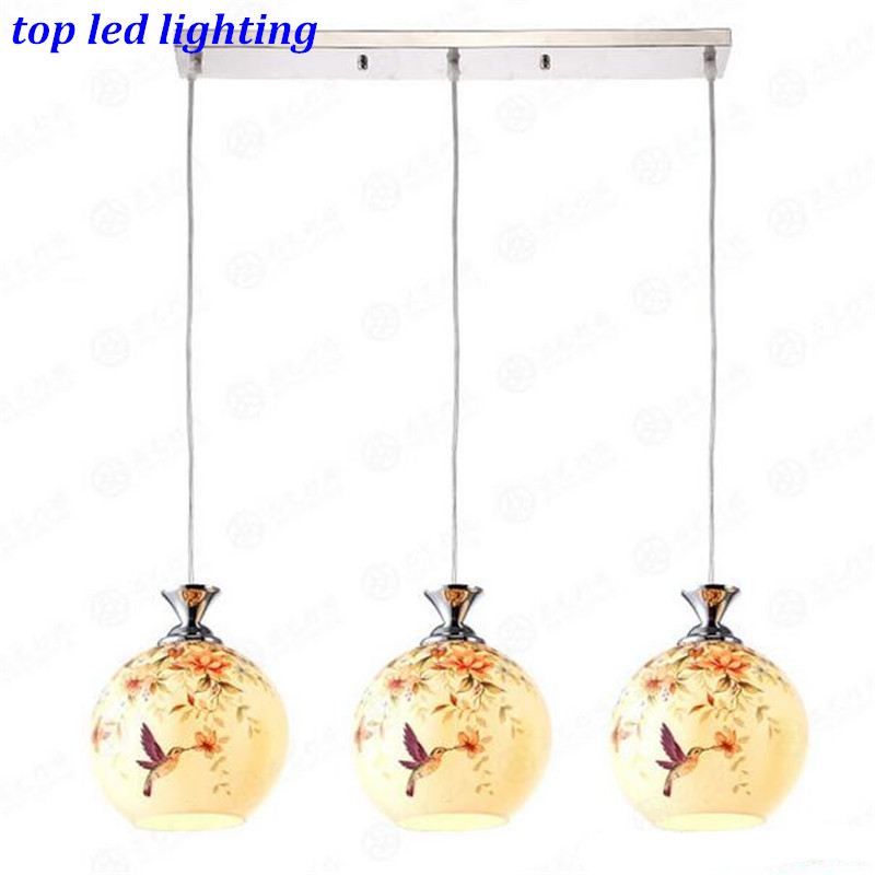 Vintage Creative Glass Pendant Lights for Dining Room LIving Room Led E27 1/3 heads Pendant Lamps AC 80-265V 1147 fumat stained glass pendant lamps european style glass lamp for living room dining room baroque glass art pendant lights led