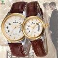 Reloj Mujer 2016 Top Marca de Luxo Casal Relógios Das Mulheres Dos Homens Data relógio de Pulso À Prova D' Água Amantes de Quartzo de Couro Das Senhoras Relógios de Ouro