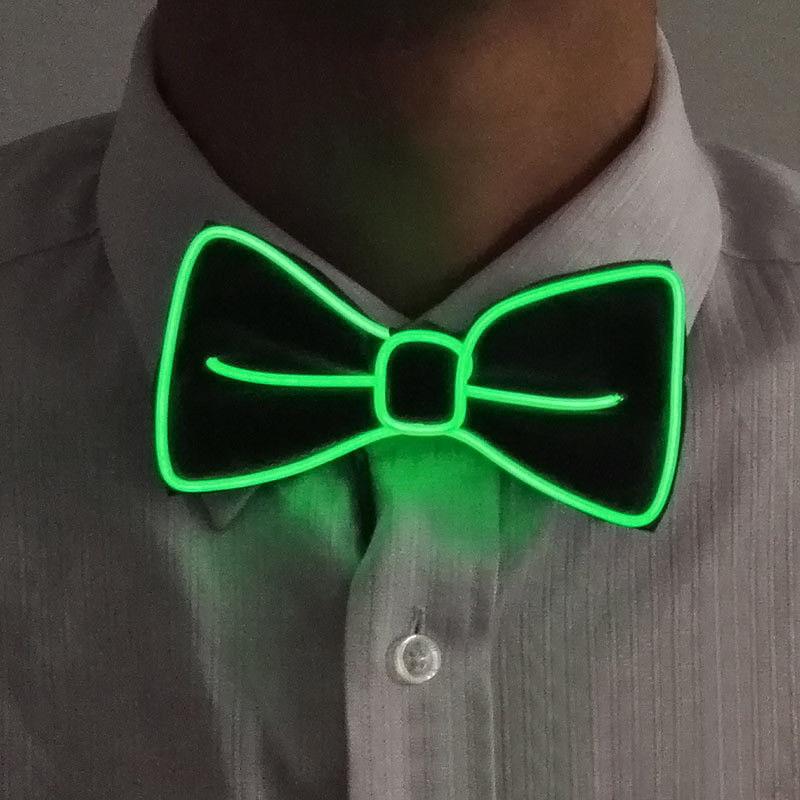 Новейший мужской светодиодный галстук на проволоке галстук-бабочка мигающий светильник El Wire галстук-бабочка светодиодный мужской светильник s галстук-бабочка свадебные светящиеся вечерние принадлежности - Цвет: Зеленый