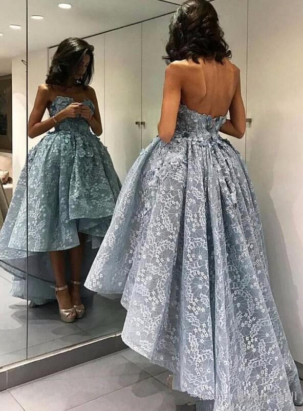Hot Sale Lace High Low   Prom     Dresses   2019 3D Floral Applique Beaded Black Girl African   Prom     Dress   Dusty Blue Evening Gowns Cheap