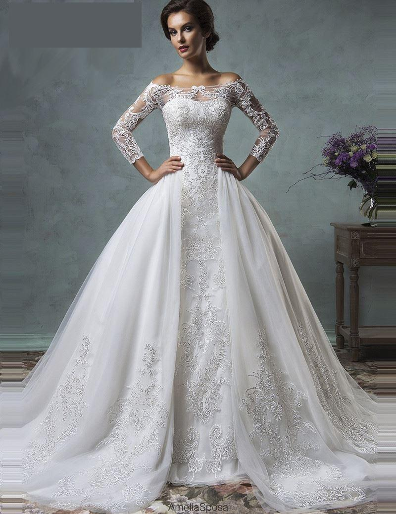 2019 Vintage Mermaid Wedding Dress With Detachable Train Long Sleeve Illusion Lace Embroidery Arabic Plus Size