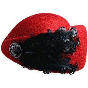 Image 4 - Chapeau dhôtesse en plumes pour femmes, chapeau fedora en laine unie, vintage, à la mode, style britannique de béret, nouvelle collection 2020